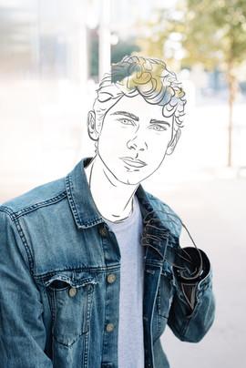 man in jean jacket line drawing portrait