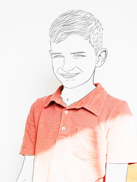 Boy in red shirt line drawing