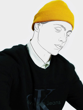 Man in yellow hat contour line