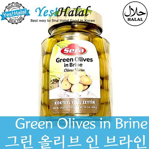 Green Olives in Brine (Turkey, Sera, 700g)