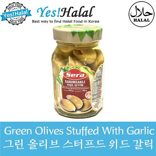 Green Olives Stuffed with Garlic (Turkey, Sera, 345g)