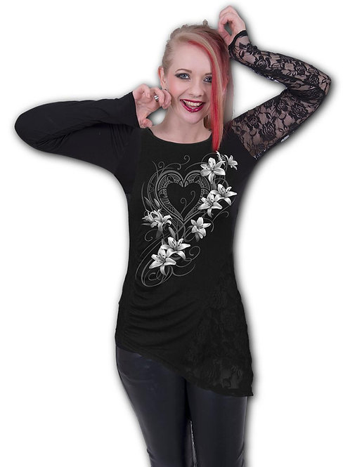 PURE OF HEART - One Lace Sleeve Gathered Top (Plain)