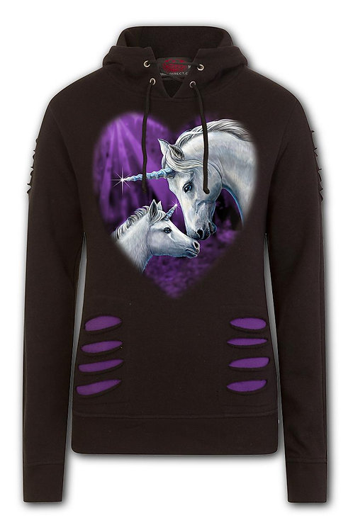 SACRED LOVE - Large Hood Ripped Hoody Purple-Black (Plain)