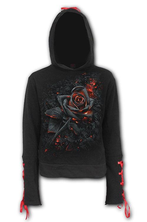 BURNT ROSE - Red Ribbon Gothic Hoody Black (Plain)