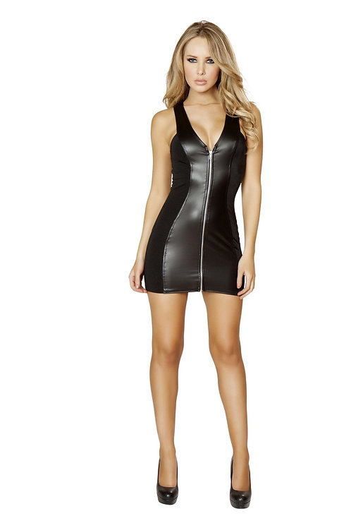 3139 - 1pc Black Mini Dress with Full Zip up Front