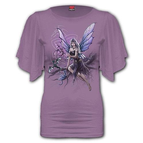 DRAGON KEEPER - Boat Neck Bat Sleeve Top Purple (Plain)