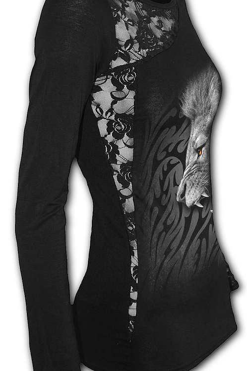 TRIBAL LION - Lace One Shoulder Top Black (Plain)