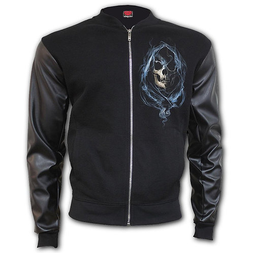 GHOST REAPER - Bomber Jacket with PU Leather Sleeves (Plain)