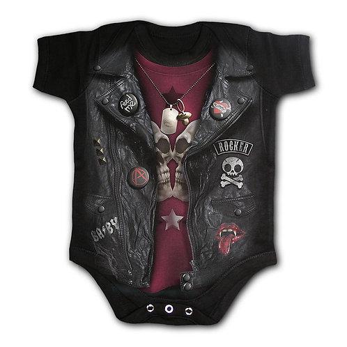 BABY BIKER - Baby Sleepsuit Black (Plain)