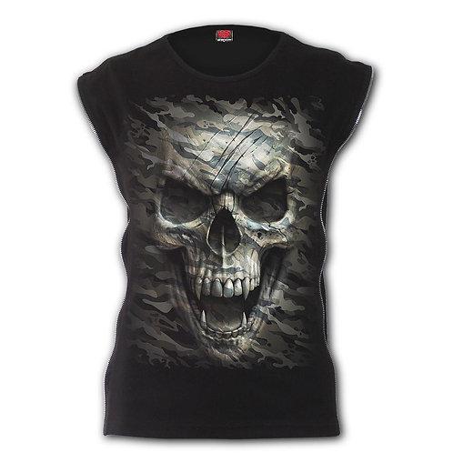 CAMO-SKULL - Zip Side Ribbed Gothic Ladies Top (Plain)