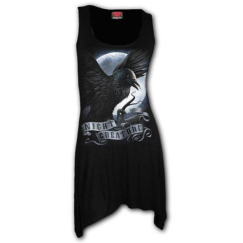 NIGHT CREATURE - Goth Bottom Camisole Dress Black (Plain)
