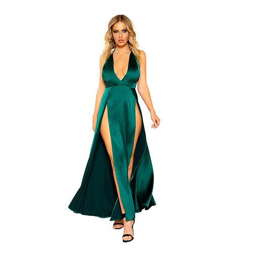 3801 - Maxi Length Satin Dress with High Slits and Deep Cut
