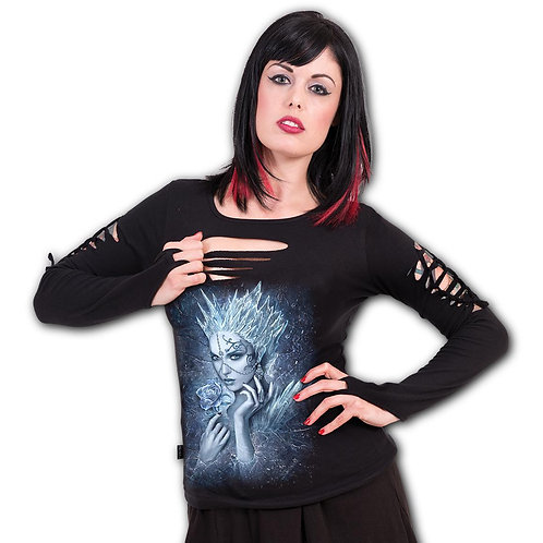 ICE QUEEN - Slashed Goth Glove Top Black (Plain)
