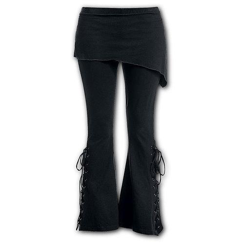 URBAN FASHION - 2in1 Boot-Cut Leggings with Micro Slant Skirt (Plain)