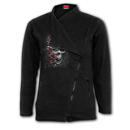 SKULLS N' ROSES - Slant Zip Women Biker Jacket Black (Plain)
