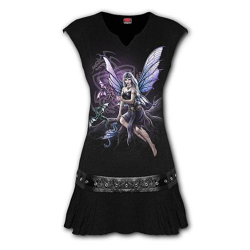 DRAGON KEEPER - Stud Waist Mini Dress Black (Plain)