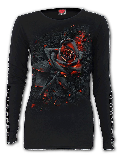 BURNT ROSE - Buckle Cuff Long Sleeve Top (Plain)