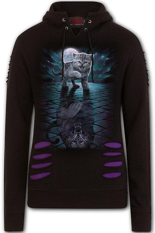 WILD SIDE - Large Hood Ripped Hoody Purple-Black (Plain)