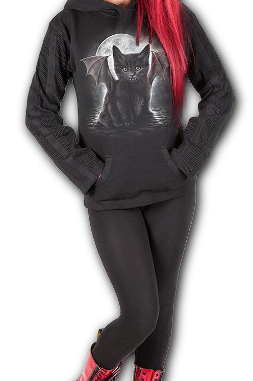 BAT CAT - Kangaroo Mesh Sleeve Hoody Black (Plain)