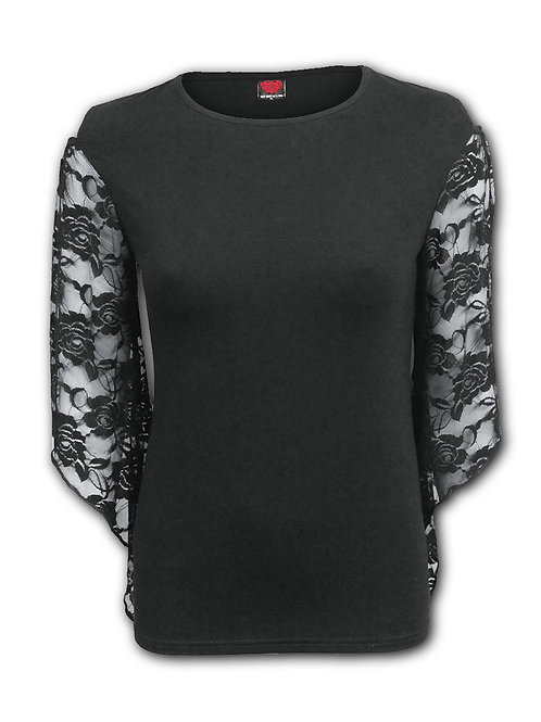 GOTHIC ELEGANCE - Rose Lace Sleeve Top