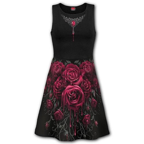 BLOOD ROSE AO - Mesh Layered Midi Skater Dress