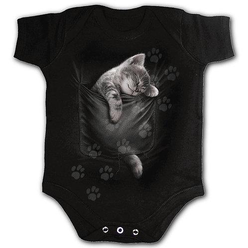 POCKET KITTEN - Baby Sleepsuit Black (Plain)