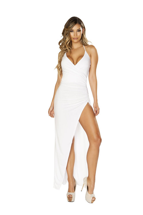 3654 - Maxi Length Dress with Overlapping Scrunch & High Slit