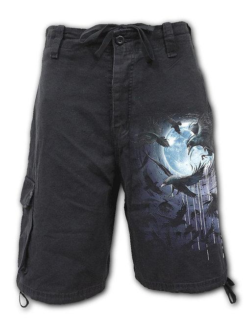 CROW MOON - Vintage Cargo Shorts Black (Plain)