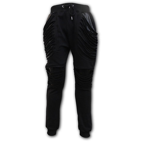 GOTHIC ROCK - Joggers Slashed with Pu Leather Inserts (Plain)