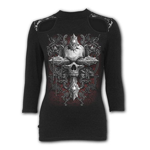 CROSS OF DARKNESS - Lace Shoulder 3/4 Sleeve Top (Plain)