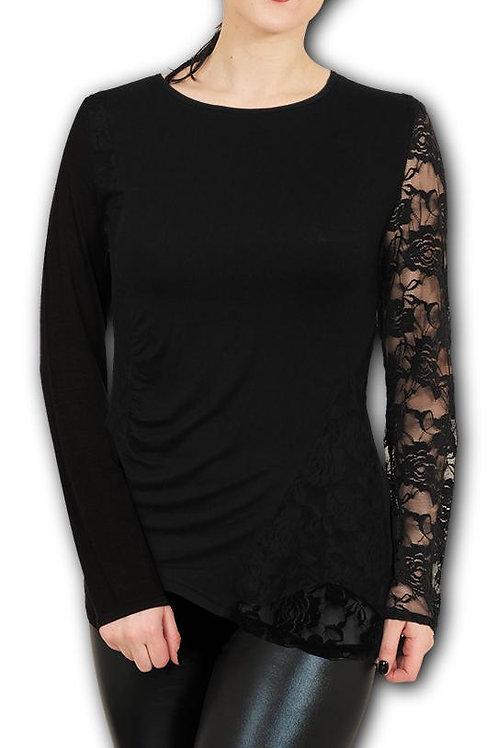 GOTHIC ELEGANCE - One Lace Sleeve Gathered Top (Plain)