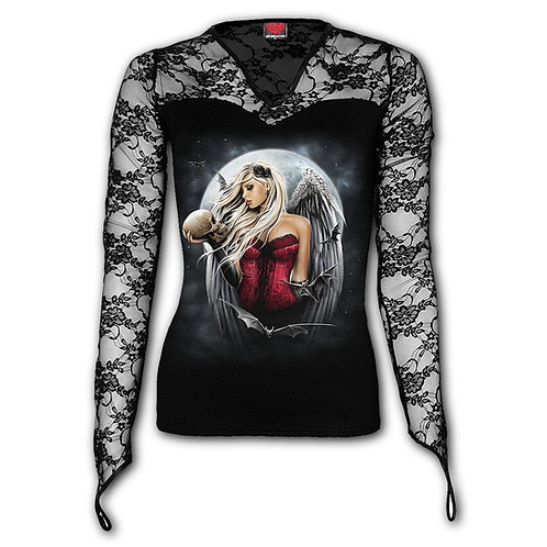 ANGEL OF DEATH SORROW - Lace Neck Goth Top Black (Plain)