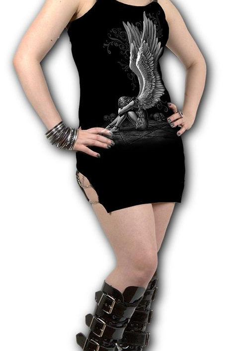 ENSLAVED ANGEL - Camisole Chain Dress Black (Plain)