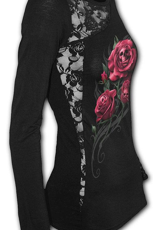 DEATH ROSE - Lace One Shoulder Top Black (Plain)