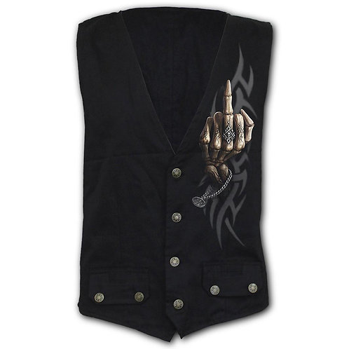 BONE FINGER - Gothic Waistcoat Four Button with Lining (Plain)
