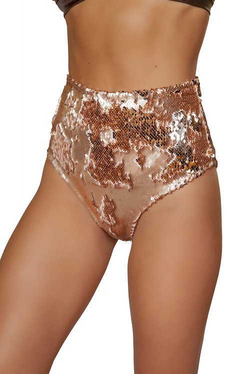 3617 - 1pc Two-Tone High Waisted Sequin Shorts