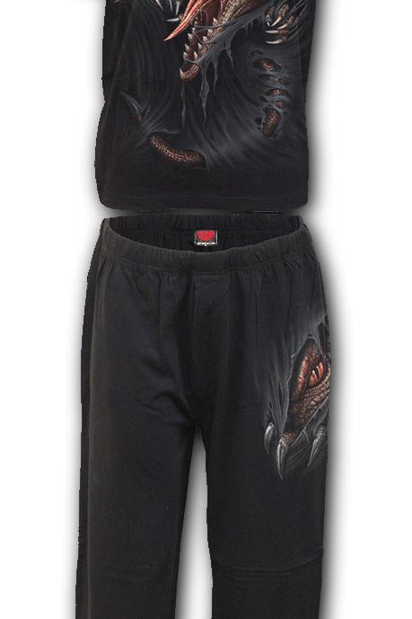 BREAKING OUT - 4pc Mens Gothic Pyjama Set (Plain)
