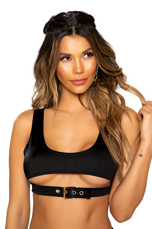 3748 - Crop Top with Underboob Detail and Buckle Closure