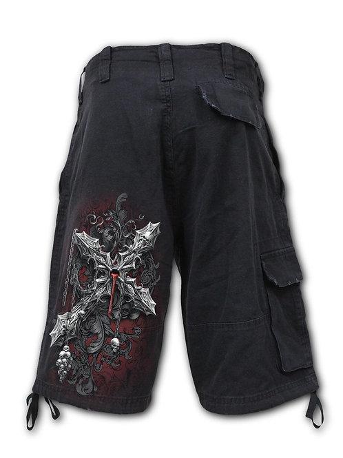 CROSS OF DARKNESS - Vintage Cargo Shorts Black (Plain)