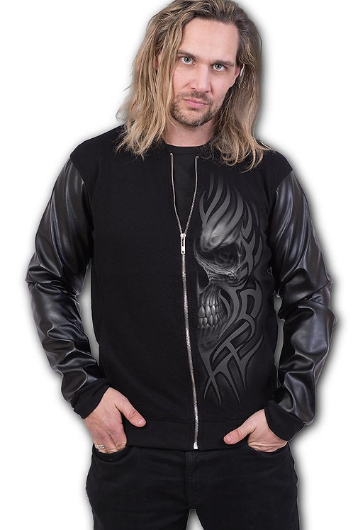 DEATH RAGE - Bomber Jacket with PU Leather Sleeves (Plain)