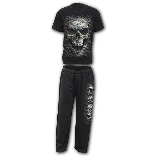 CAMO-SKULL - 4pc Mens Gothic Pyjama Set (Plain)