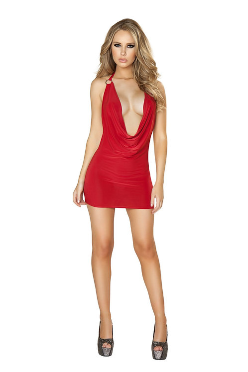 3131 - 1pc Cowl Neck Red Mini Dress