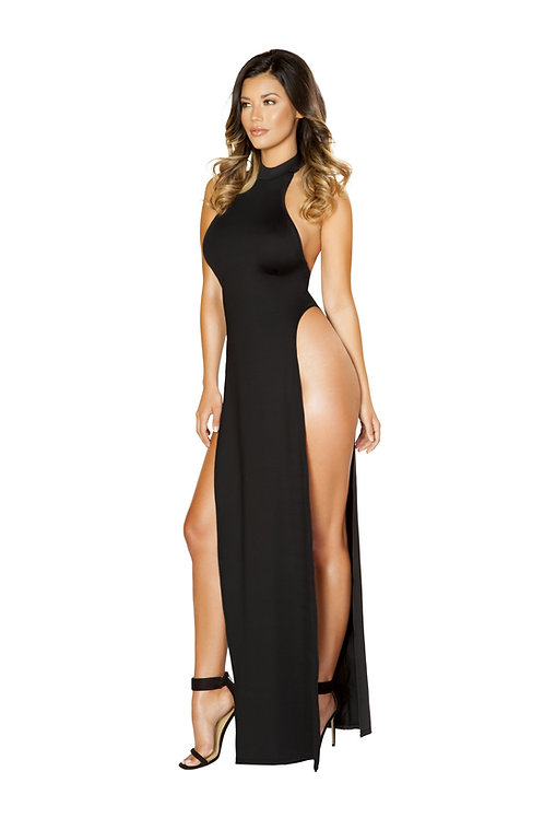 3529 - Maxi Length Halter Neck Dress with High Slits