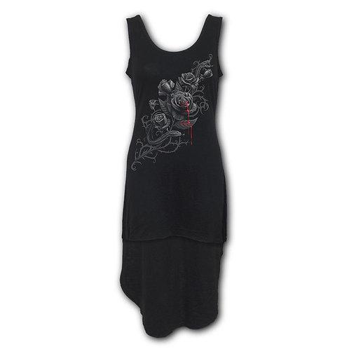 FATAL ATTRACTION - Gothic High-Low Hem Dress Black (Plain)