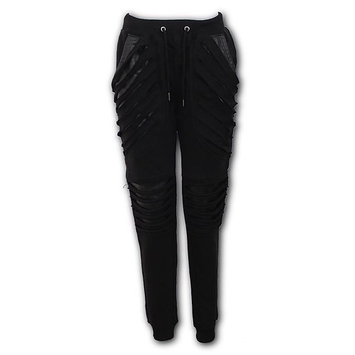 GOTHIC ROCK - Ladies Joggers Slashed with Pu Leather Inserts (Plain)