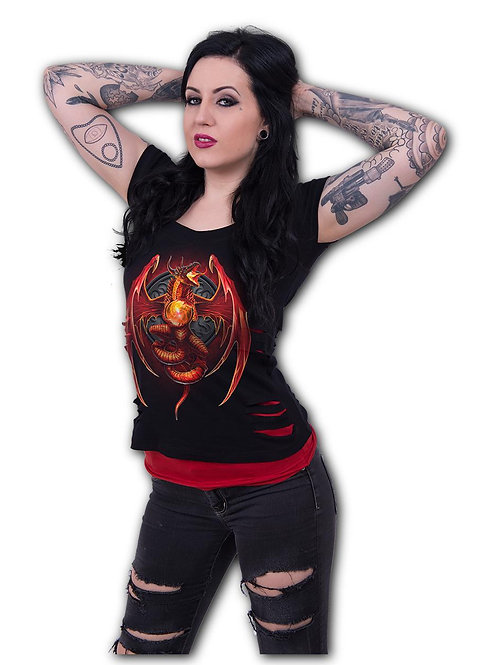 DRAGON'S WRATH - 2in1 Red Ripped Top Black (Plain)