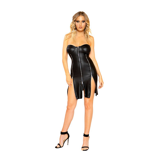 3795 - Strapless Leather Look Dress with Triple Zipper Detail