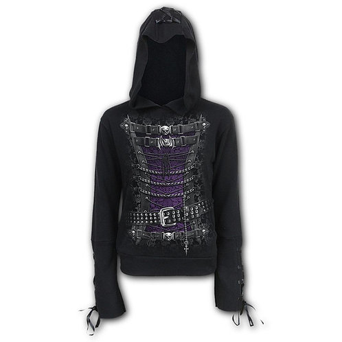 WAISTED CORSET - Black Ribbon Gothic Hoody Black (Plain)