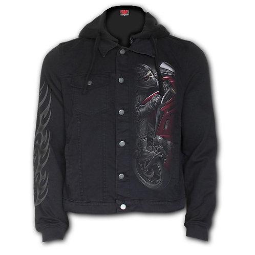 DEMON BIKER - Hooded Shacket Black (Plain)