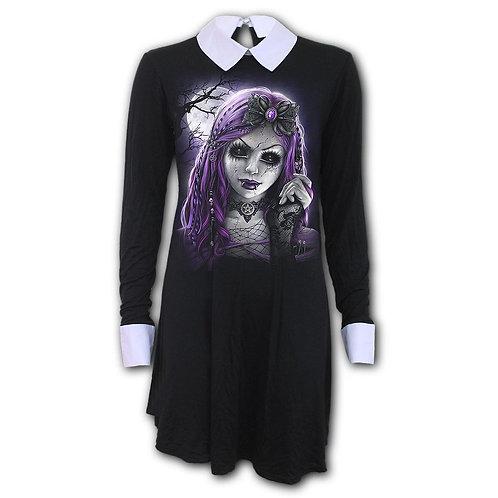 GOTH DOLL - PeterPan Collar Baby Doll LS Dress (Plain)